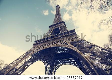 Vintage photo of Eiffel Tower, Paris, France - stock photo