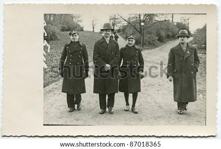 Vintage photo of family (thirties) - stock photo