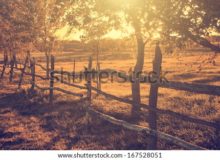 Vintage photo of farmland in sunset - stock photo