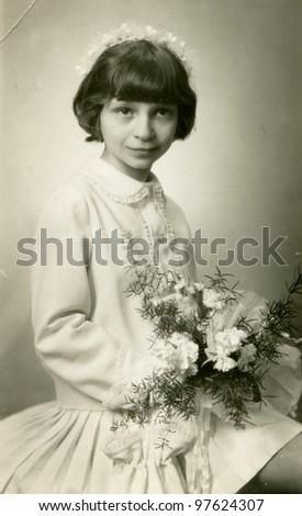 Vintage photo of girl - first communion, fifties - stock photo