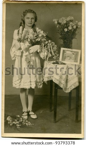 Vintage photo of girl - First Communion (thirties) - stock photo