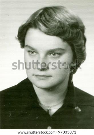 Vintage photo of girl (sixties) - stock photo