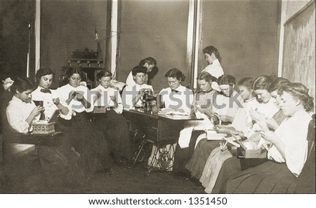 Vintage photo of Girls Sitting In A Circle Doing Embroidery