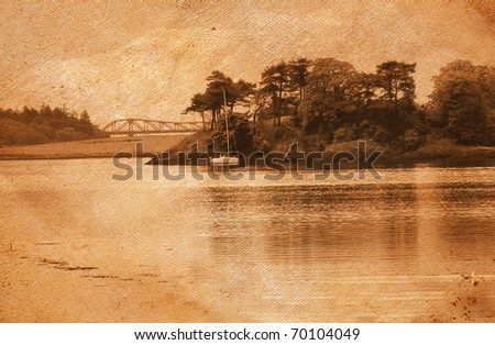 vintage photo of lake and forest - stock photo