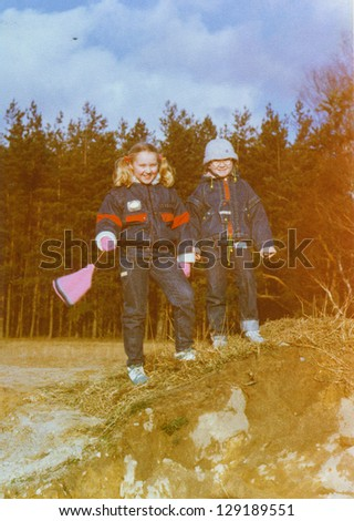 Vintage photo of little girls, early eighties