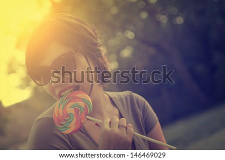 Vintage photo of lollipop woman - stock photo