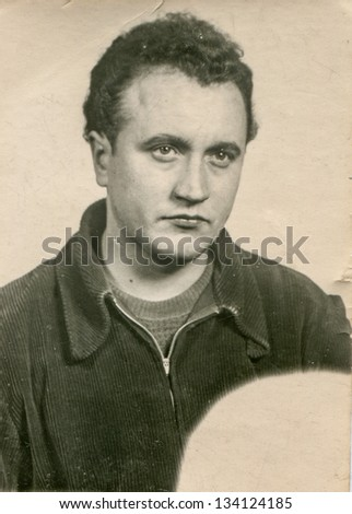 Vintage photo of man, fifties - stock photo