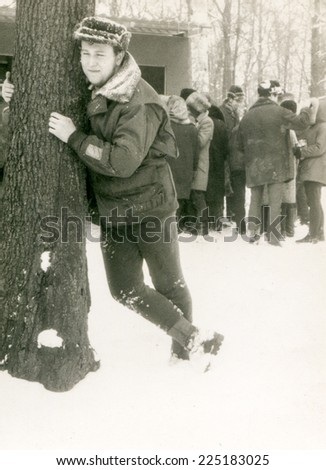 Vintage photo of man in winter, sixty - stock photo