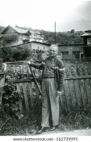 Vintage photo of man outdoor, fifties - stock photo