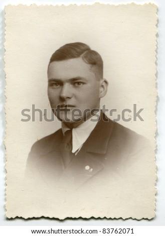 Vintage photo of man (thirties) - stock photo