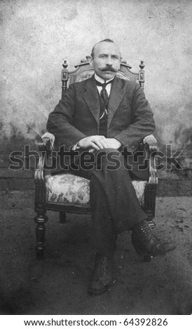 Vintage photo of man (twenties) - stock photo