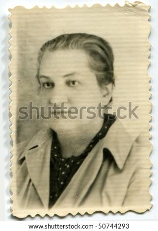 Vintage photo of mature woman - stock photo