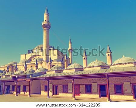Vintage photo of  Mevlana museum mosque in Konya.  - stock photo