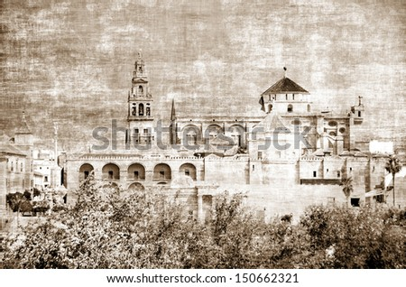 Vintage photo of Mezquita in Cordoba, Andalusia, Spain - stock photo