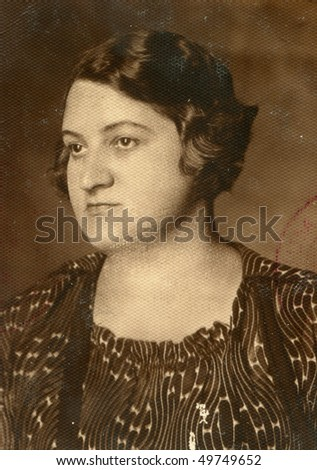 Vintage photo of middle-age woman (forties) - stock photo