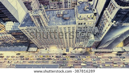 Vintage photo of New York streets from rooftop. - stock photo
