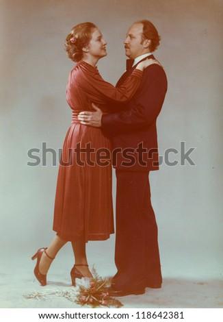 Vintage photo of newlyweds, seventies - stock photo