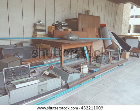 Vintage photo of Obsolete, Electronic equipment waste. - stock photo