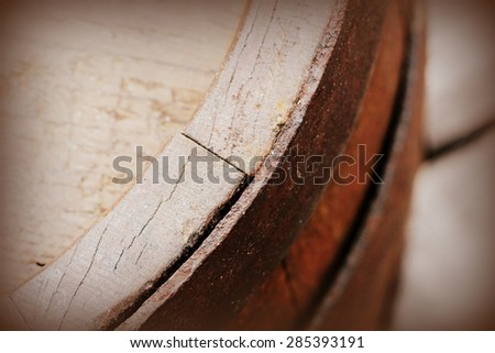 Vintage photo of old wooden barrel  - stock photo