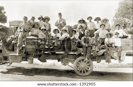 Vintage photo of People Sightseeing On a Truck - stock photo