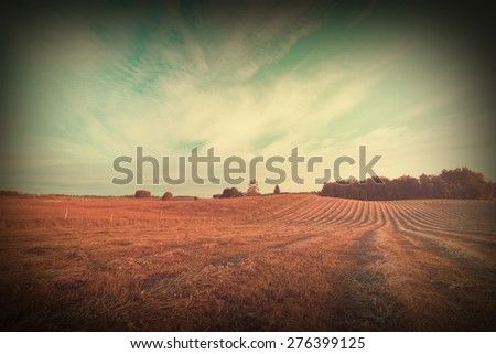 Vintage photo of rural landscape and vignette