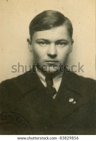 Vintage photo of schoolboy (thirties) - stock photo
