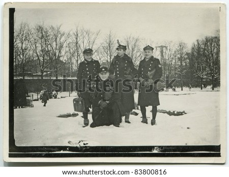 Vintage photo of schoolboys in uniforms, early thirties - stock photo