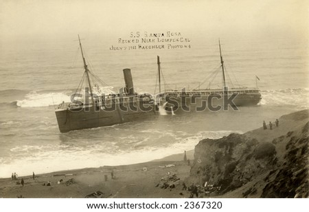 Vintage photo of ship split in half on the California coast - stock photo