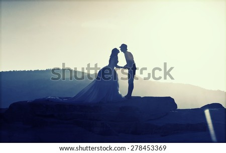 Vintage photo of silhouette image of a bride and groom