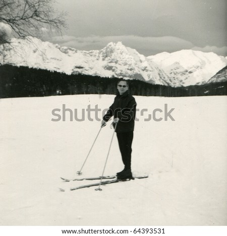 Vintage photo of skier (fifties) - stock photo