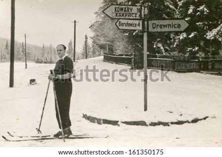 Vintage photo of skier (sixties) - stock photo