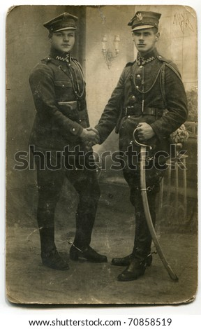 Vintage photo of soldiers (circa 1930) - stock photo