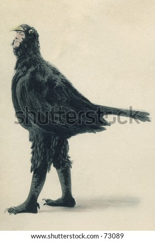 Vintage photo of stage actor in bird costume, circa 1900