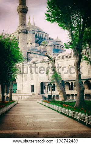 Vintage photo of Sultanahmet Blue Mosque architecture, Istanbul, Turkey - stock photo