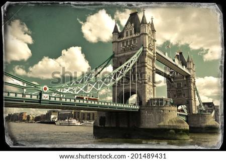 Vintage photo of Tower bridge in London - stock photo