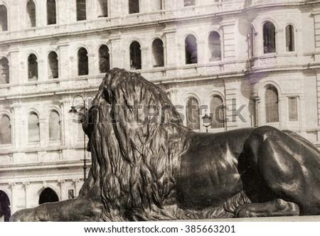 Vintage photo of Trafalgar Square Lion, London. - stock photo
