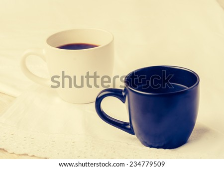 vintage photo of two cup black coffee - stock photo