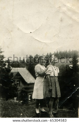 Vintage photo of two sisters
