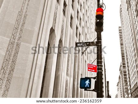 Vintage photo of Wall Street road sign and traffic lights. - stock photo