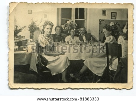 Vintage photo of wedding reception (forties) - stock photo