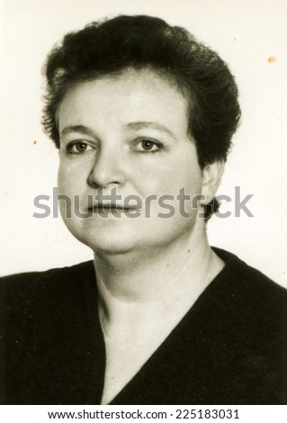 Vintage photo of woman, early eighties - stock photo
