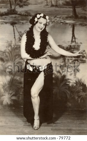 Vintage photo of woman performing hula dance - stock photo