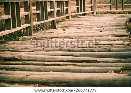 Vintage photo of wood bridge  - stock photo