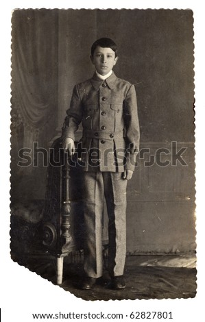 Vintage photo of young boy  (Russia, end of 19th century) - stock photo