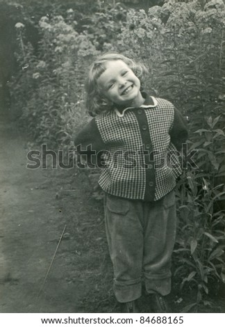 Vintage photo of young girl (fifties) - stock photo