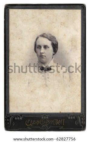 Vintage photo of  young girl (Russia, end of 19th century) - stock photo