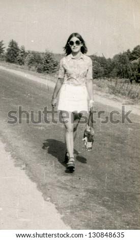 Vintage photo of young girl, sixties - stock photo