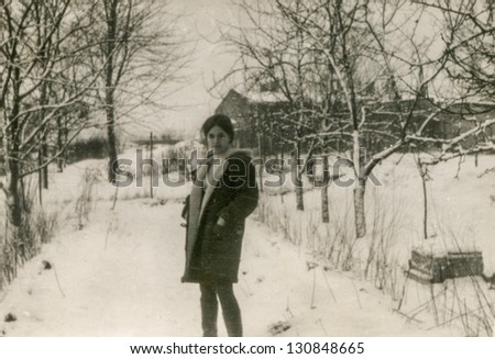 Vintage photo of young girl, sixties