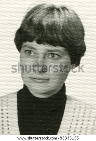 Vintage photo of young girl (sixties) - stock photo