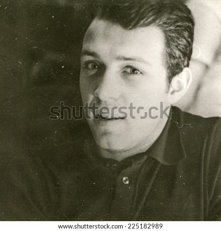 Vintage photo of young man, sixties - stock photo